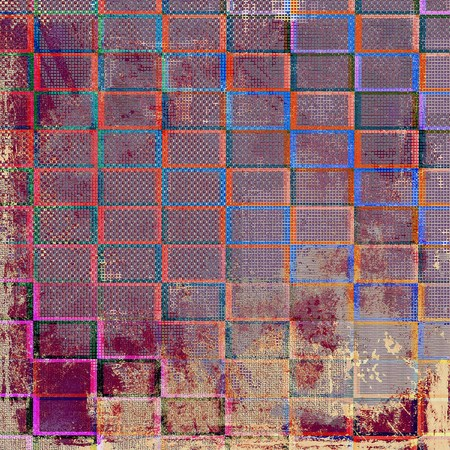 school aged: Geometric old school aged texture or background for retro grunge design. With different color patterns: yellow (beige); brown; blue; red (orange); purple (violet); pink
