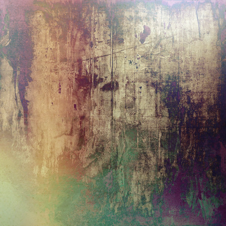 corrosion: Abstract vintage background with faded grungy texture. Aged backdrop with different color patterns: yellow (beige); brown; green; purple (violet); gray; pink Stock Photo