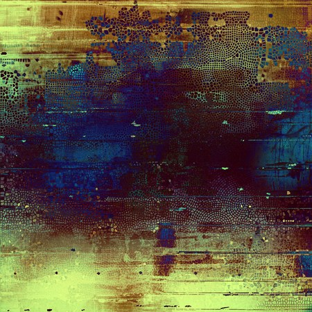 obscure: Grunge background with vintage style graphic elements, retro feeling composition and different color patterns: yellow (beige); brown; blue; purple (violet); cyan