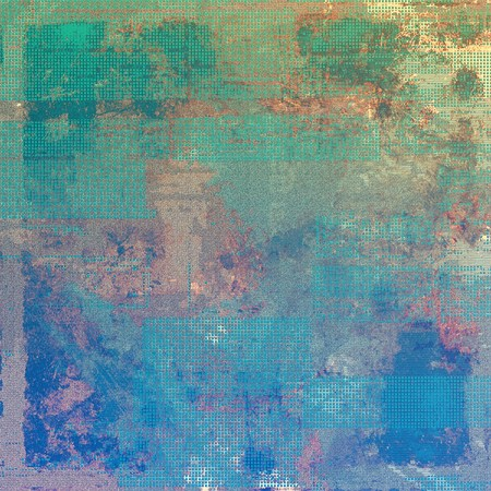 eroded: Vintage ancient background or texture with grunge decor elements and different color patterns: yellow (beige); brown; green; blue; gray; cyan