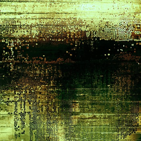 degraded: Aged grunge graphic background with shabby texture in vintage style and different color patterns: yellow (beige); brown; green; black Stock Photo