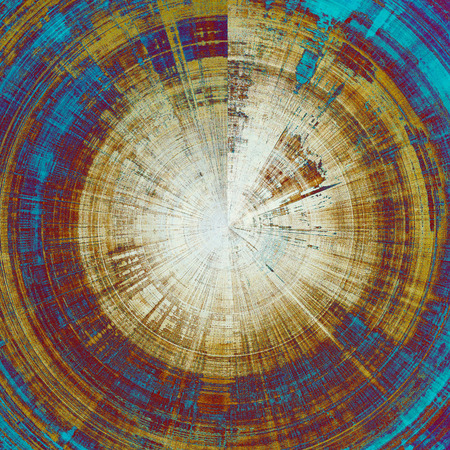 eroded: Spherical grunge texture in ancient style, aged background with creative decor and different color patterns: yellow (beige); brown; blue; purple (violet); cyan; white