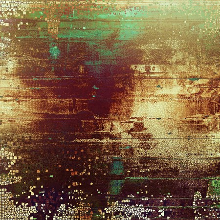 corrosion: Retro background with vintage style design elements, scratched grunge texture, and different color patterns: yellow (beige); brown; green; red (orange); purple (violet); pink