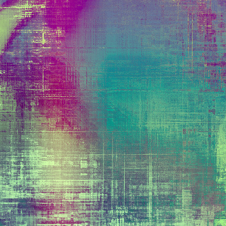 eroded: Vintage textured background with copy space. Old style backdrop with different color patterns: yellow (beige); gray; blue; purple (violet); cyan; pink