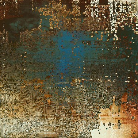 obscure: Grunge design composition over ancient vintage texture. Creative background with different color patterns: yellow (beige); brown; gray; black; blue; white Stock Photo