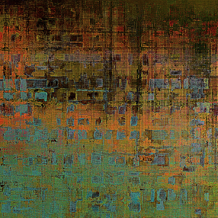 saturated color: Scratched vintage texture, grunge style frame or background. With different color patterns: yellow (beige); brown; blue; green; red (orange); cyan Stock Photo