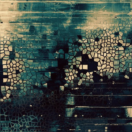 crosshatching: Grunge texture, aged or old style background with retro design elements and different color patterns: yellow (beige); brown; gray; black; blue; cyan