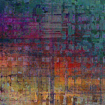 eroded: Retro style texture for your layouts. Grunge background with different color patterns: yellow (beige); brown; green; blue; red (orange); purple (violet) Stock Photo