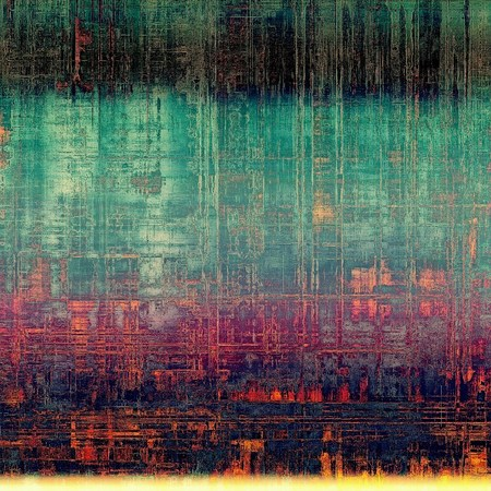 eroded: Vintage torn texture or stylish grunge background with ancient design elements and different color patterns: green; blue; red (orange); black; purple (violet); cyan