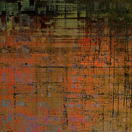 eroded: Tinted vintage texture, aged decorative grunge background with traditional antique elements and different color patterns: yellow (beige); brown; blue; red (orange); black; pink