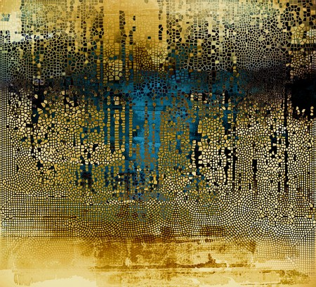 eroded: Vintage old-style texture, worn and rough grunge background with different color patterns: yellow (beige); brown; blue; black Stock Photo