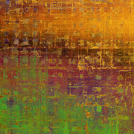 eroded: Colorful grunge texture or background with vintage style elements and different color patterns: yellow (beige); brown; green; red (orange); purple (violet); pink Stock Photo