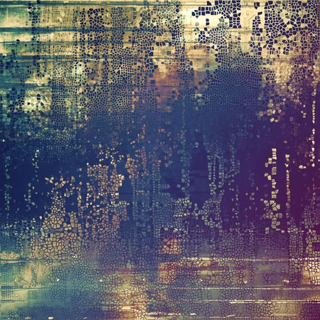 blemish: Old style design, textured grunge background with different color patterns: yellow (beige); brown; blue; cyan; gray; purple (violet)