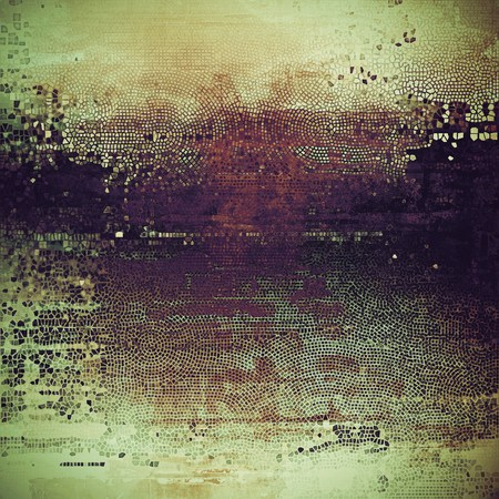 crosshatching: Ancient texture or damaged old style background with vintage grungy design elements and different color patterns: yellow (beige); brown; gray; black; green; purple (violet) Stock Photo