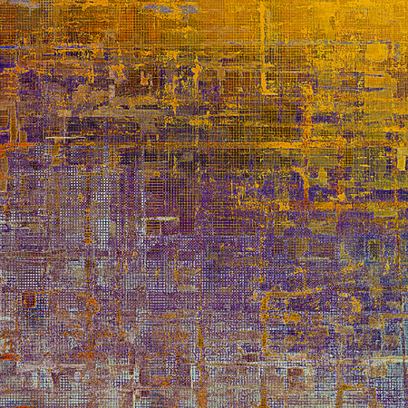 eroded: Ancient texture or damaged old style background with vintage grungy design elements and different color patterns: yellow (beige); brown; gray; blue; red (orange); purple (violet)