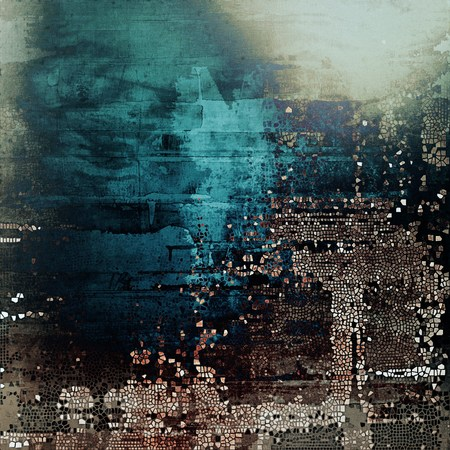 eroded: Creative grunge background in vintage style. Faded shabby texture with different color patterns: brown; gray; black; blue; cyan; white