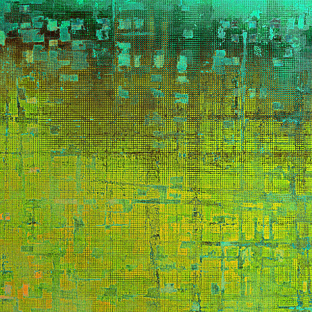 eroded: Highly detailed scratched texture, aged grungy background. Vintage style composition with different color patterns: yellow (beige); brown; green; blue; cyan Stock Photo