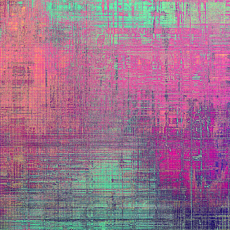 Grunge background with delicate aged texture. Antique backdrop with retro vintage elements and different color patterns: gray; green; red (orange); purple (violet); cyan; pink Stock Photo