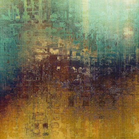 Vintage template or background with grungy texture, antique decor and different color patterns: yellow (beige); brown; green; blue; purple (violet); cyan Stock Photo