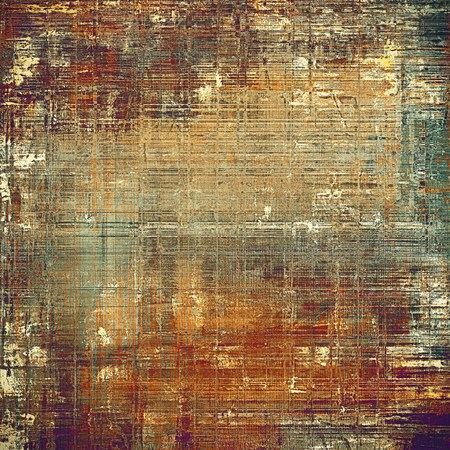 patched: Colorful vintage background, grunge texture with scratches, stains and different color patterns: yellow (beige); brown; gray; green; red (orange); purple (violet)