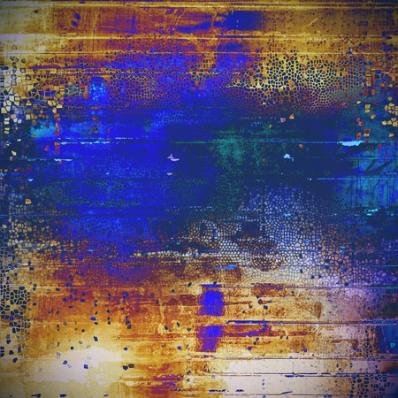 Grunge colorful texture, aged weathered background with different color patterns: yellow (beige); brown; blue; red (orange); purple (violet); cyan