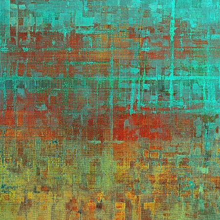 grime: Abstract faded retro background or shabby texture with vintage style design and different color patterns: yellow (beige); brown; green; blue; red (orange); cyan