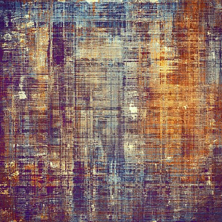 Old style decorative composition or designed vintage template with textured grunge elements and different color patterns: yellow (beige); brown; blue; red (orange); purple (violet); pink