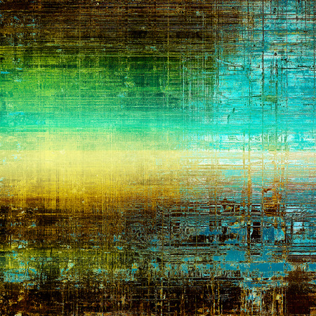 Retro background with vintage style design elements, scratched grunge texture, and different color patterns: yellow (beige); brown; green; blue; black; cyan