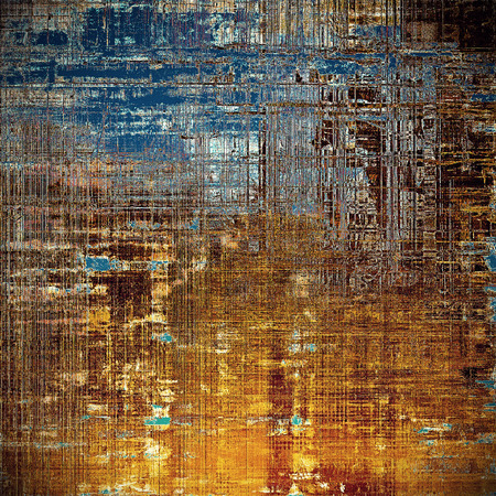 Retro style texture for your layouts. Grunge background with different color patterns: yellow (beige); brown; blue; red (orange); black Stock Photo