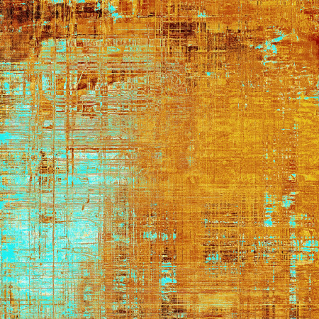 obscure: Aged vintage background with weathered texture, grunge design elements and different color patterns: yellow (beige); brown; blue; red (orange); cyan Stock Photo