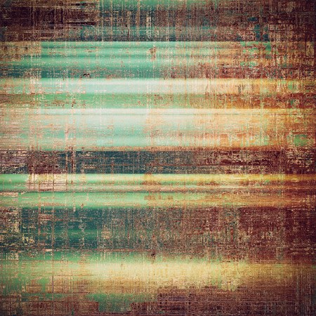 saturated color: Retro style graphic composition on textured grunge background. With different color patterns: yellow (beige); brown; green; red (orange); purple (violet); cyan