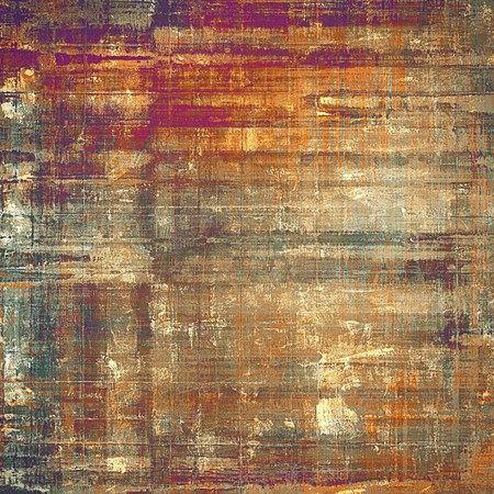 Vintage textured background with copy space. Old style backdrop with different color patterns: yellow (beige); brown; gray; blue; red (orange); purple (violet)