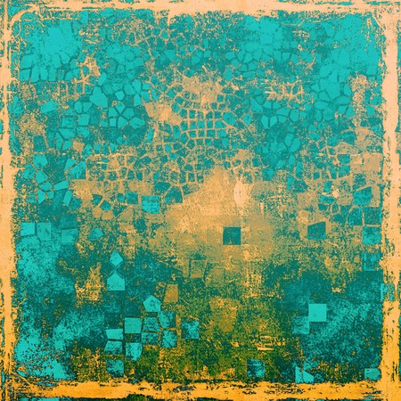 Vintage torn texture or stylish grunge background with ancient design elements and different color patterns: yellow (beige); brown; green; blue; cyan