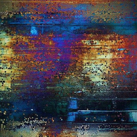 grime: Grunge texture, scratched surface or vintage background. With different color patterns: yellow (beige); brown; green; blue; red (orange); purple (violet)