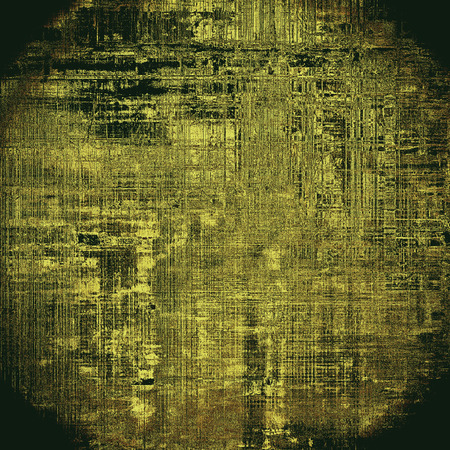 patched: Spherical old abstract texture used as shabby grungy background. With different color patterns: yellow (beige); brown; gray; black Stock Photo