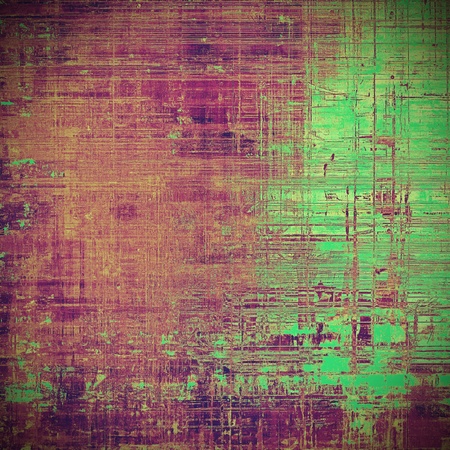 gloomy: Aged vintage background with weathered texture, grunge design elements and different color patterns: brown; green; red (orange); purple (violet); pink