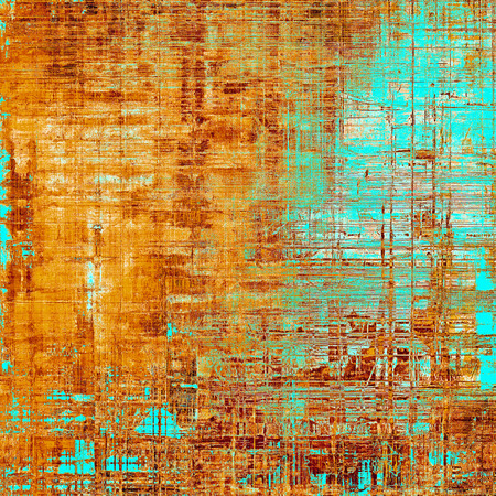 Highly detailed scratched texture, aged grungy background. Vintage style composition with different color patterns: yellow (beige); brown; blue; red (orange); cyan