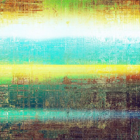 Aged background or texture. Vintage graphic composition with grunge style elements and different color patterns: yellow (beige); brown; green; blue; red (orange); white Stock Photo