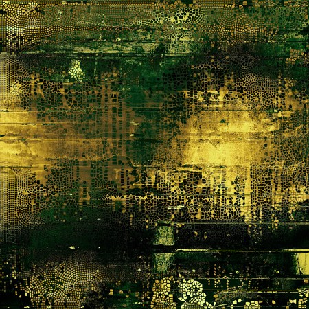 eroded: Glamour vintage frame, decorative grunge background. Aged texture with different color patterns: yellow (beige); brown; gray; green; black Stock Photo