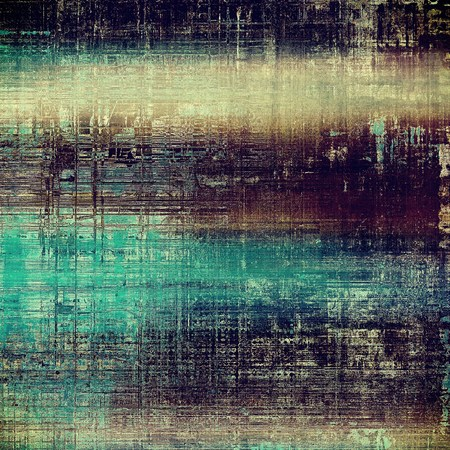 Retro style graphic composition on textured grunge background. With different color patterns: yellow (beige); brown; blue; purple (violet); black; cyan