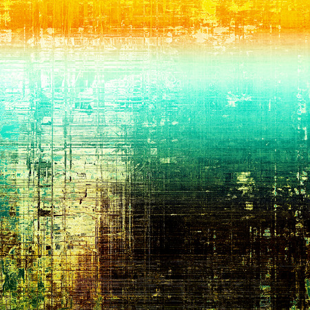 eroded: Vintage ancient background or texture with grunge decor elements and different color patterns: yellow (beige); brown; green; blue; red (orange); black
