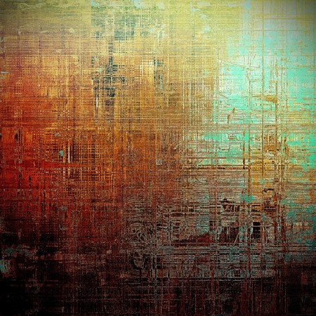 jagged: Tinted vintage texture, aged decorative grunge background with traditional antique elements and different color patterns: yellow (beige); brown; green; blue; red (orange); black Stock Photo