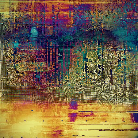 Grunge background with delicate aged texture. Antique backdrop with retro vintage elements and different color patterns: yellow (beige); green; blue; red (orange); purple (violet); pink
