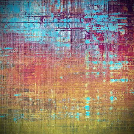 Traditional grunge background, scratched texture with vintage style design and different color patterns: yellow (beige); brown; blue; red (orange); purple (violet); pink Stock Photo