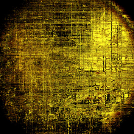 eroded: Spherical shabby texture or background with classy vintage elements. Grunge backdrop with different color patterns: yellow (beige); brown; gray; black