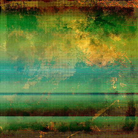 eroded: Old style design, textured grunge background with different color patterns: yellow (beige); brown; green; blue; red (orange); cyan Stock Photo