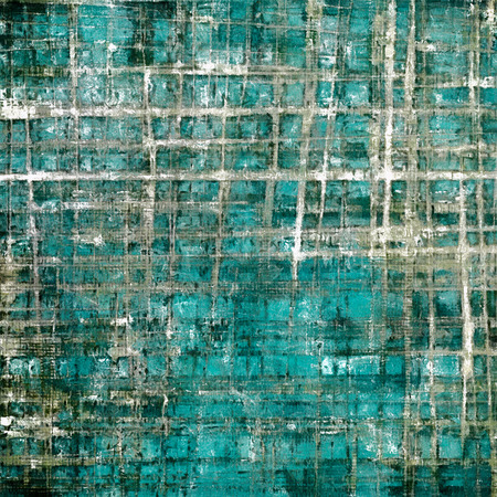 Abstract scratched background or frame with weathered grunge texture. Ancient style backdrop with different color patterns: brown; gray; blue; white; cyan Stock Photo