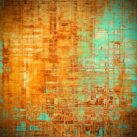 scrap book: Art grunge texture for creative design or scrap-book. With vintage style decor and different color patterns: yellow (beige); brown; blue; red (orange); cyan