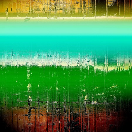 eroded: Background with grunge elements on vintage style old texture. With different color patterns: yellow (beige); brown; green; blue; red (orange); white Stock Photo