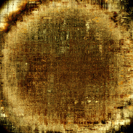 degraded: Spherical vintage background in scrap-booking style, faded grunge texture with different color patterns: yellow (beige); brown; black; gray Stock Photo